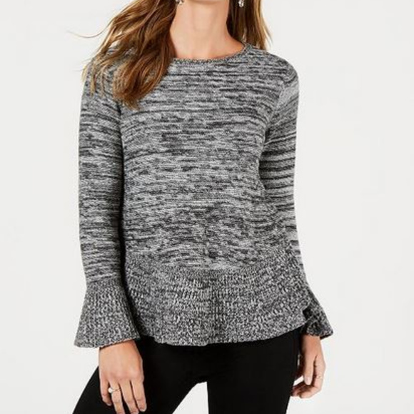Style & Co Sweaters - Style & Co 1X Gray Marled Bell Cuff Sweater D2-04